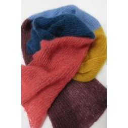 Halstørklæde strikket i Silk kid mohair i brede striber-20