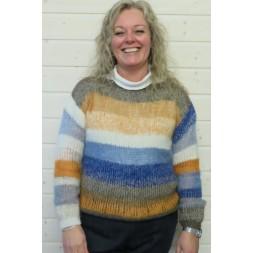 Stribet sweater strikket i rester i mohair og Rustic-20