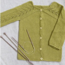 Yndigcardigan strikket i Lana i okker farvet-20