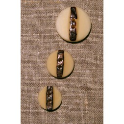 Off-white m/brun knap, 23 mm.-20