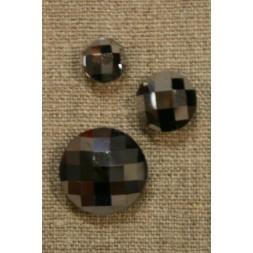 Facet-slebne knapper, sølv 14 mm.-20
