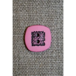 Lyserød/sort firkantet knap, 14 mm.-20