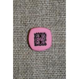 Lyserød/sort firkantet knap, 10 mm.-20