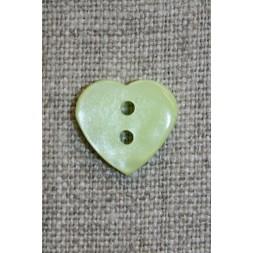 Blank hjerte-knap, lysegrøn-20