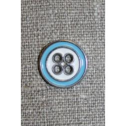 Metal-knap sølv/lyseblå/hvid-20