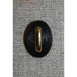 Oval knap sort/guld-20