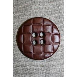 Stor knap m/flet-look, brun-20