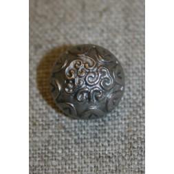 Rund gl.sølv knap m/mønster 15 mm.-20