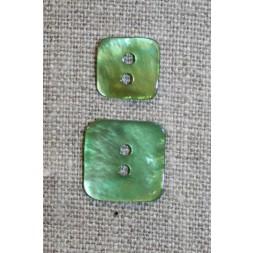 Firkantet perlemorsknap, græsgrøn, 15 mm.-20
