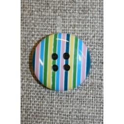 Bolche-stribet rund knap, turkis/grøn/lyserød-20