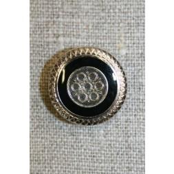 Knap m/mønster sølv/sort, 20 mm.-20