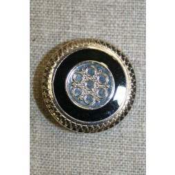 Knap m/mønster sølv/sort, 30 mm.-20