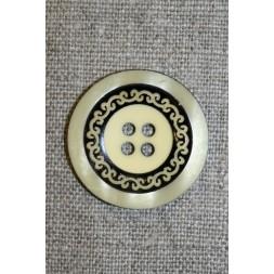4-huls knap m/mønster sort/lysegul, 28 mm.-20