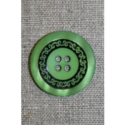 4-huls knap m/mønster sort/grøn, 28 mm.-20