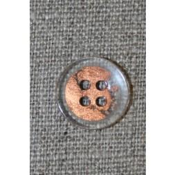 4-huls knap klar/kobber, 15 mm.-20