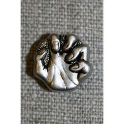 Knap m/hånd i gl.sølv-look, 15 mm.-20