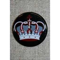 2-huls knap sort/grå/rød m/konge krone-20