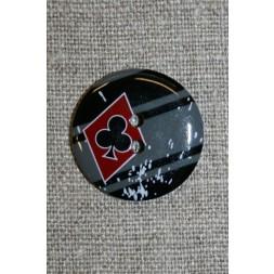 2-huls knap sort/grå/rød m/ruder/klør-20