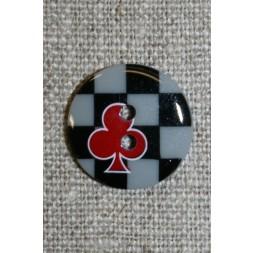 2-huls knap sort/grå/rød m/tern/klør-20