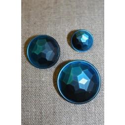 Faset-slebne knapper i metal look, petrol-20