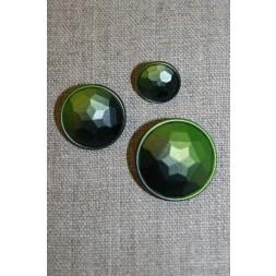 Faset-slebne knapper i metal look, lime-20