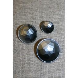 Facet-slebne knapper i metal look, gl.sølv 22 mm.-20