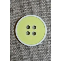 4-huls knap m/hvid kant, lys lime/gul 18 mm.-20