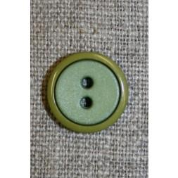 2-farvet knap lime/løvgrøn, 15 mm.-20
