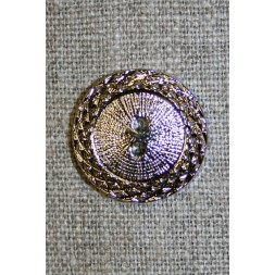 Sølv-knap m/mønster-kant, 22 mm.-20