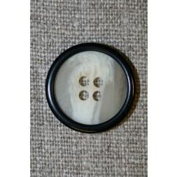 Off-white-meleret 4-huls knap m/sort kant-20