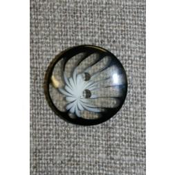 Klar knap m/blomst, sort/hvid-20