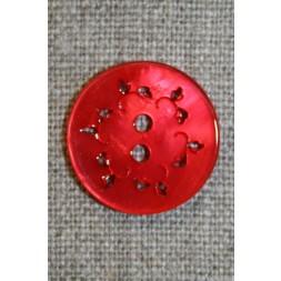 Knap m/hulmønster, rød 20 mm.-20