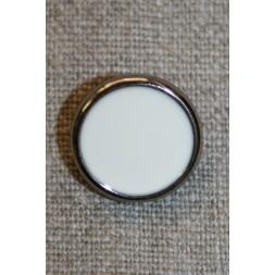Knap sølv/knækket hvid, 18 mm.-20
