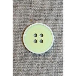 4-huls knap m/hvid kant, lys lime 18 mm.-20