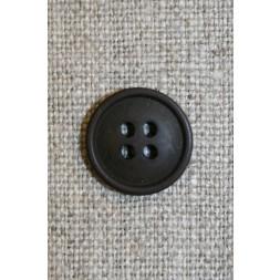 Mørkebrun 4-huls knap, 15 mm-20