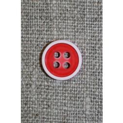 4-huls knap m/hvid kant, rød-20