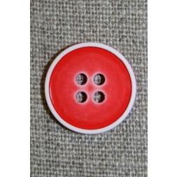 4-huls knap m/hvid kant, rød 18 mm.-20