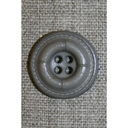 Grå-brun læder-look knap, 22 mm.-20