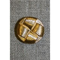 Guld-knap i flet-mønster, 18 mm.-20