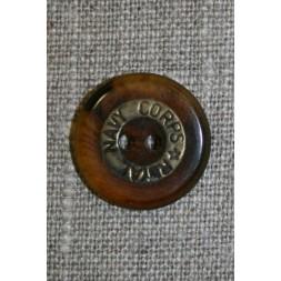 """2-huls knap brun/gl.guld """"Royal Navy Corps"""", 20 mm.-20"""