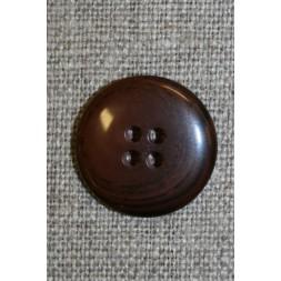4-huls knap rød-brun-meleret, 20 mm.-20