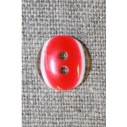 2-huls knap klar/rød, 13 mm.-20