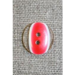 2-huls knap klar/rød, 15 mm.-20
