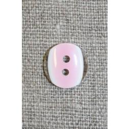 2-huls knap klar/lyserød, 13 mm.-20