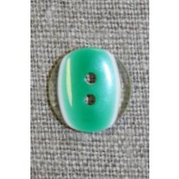 2-huls knap klar/græsgrøn, 13 mm.-20