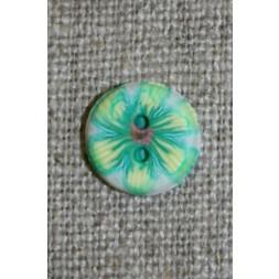 2-huls knap retro blomst grøn-20