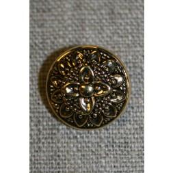 Knap m/blomst, guld/sort, 18 mm.-20