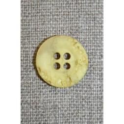 4-huls knap krakeleret lys gul, 15 mm.-20