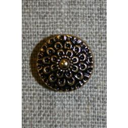 Knap guld/sort m/blomst, 15 mm.-20