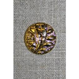 2-huls guld-knap m/bladmønster, 20 mm.-20